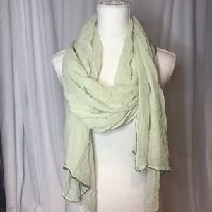 Light green sheer scarf sparkle beads on the edges